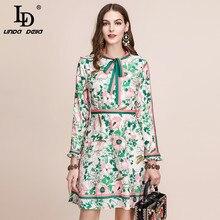秋のファッション滑走路長袖ドレス女性のベルト付き襟多色花柄ヴィンテージエレガントなドレス 2019 · LD