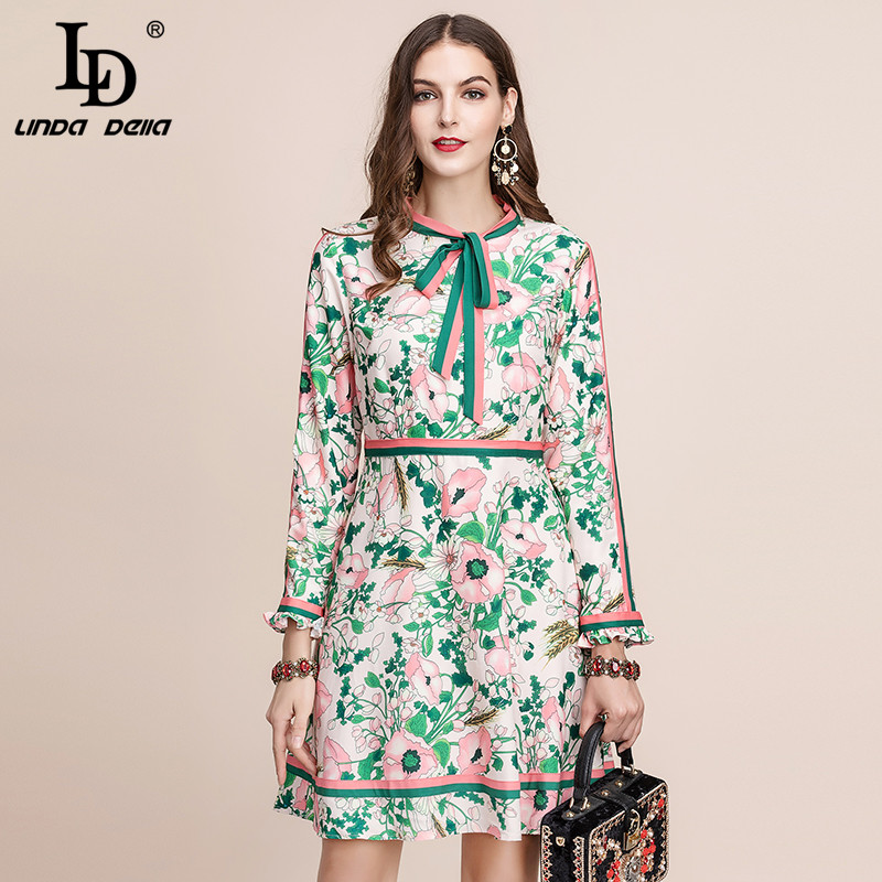 LD LINDA DELLA Autumn Fashion Runway Long Sleeve Dress Women's Belted Collar Multicolor Floral Print Vintage Elegant Dress 2019