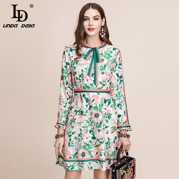 LD LINDA DELLA Autumn Fashion Runway Long Sleeve Dress Women's Belted Collar Multicolor Floral Print Vintage Elegant Dress 2019 delocah new women autumn dress runway fashion 3 4 sleeve floral printed beading back zipper elegant vintage party mini dresses