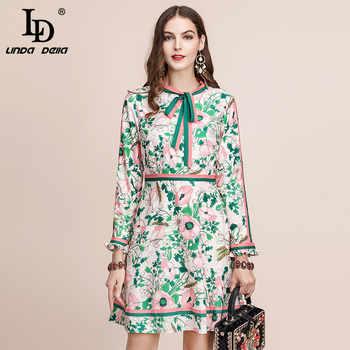 LD LINDA DELLA Autumn Fashion Runway Long Sleeve Dress Women's Belted Collar Multicolor Floral Print Vintage Elegant Dress 2019 - DISCOUNT ITEM  40% OFF All Category
