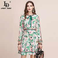 LD LINDA DELLA Autunno della Pista di Modo Del Vestito A Maniche Lunghe da Donna Con Cintura Collare Multicolor Stampa Floreale Vintage Vestito Elegante 2019