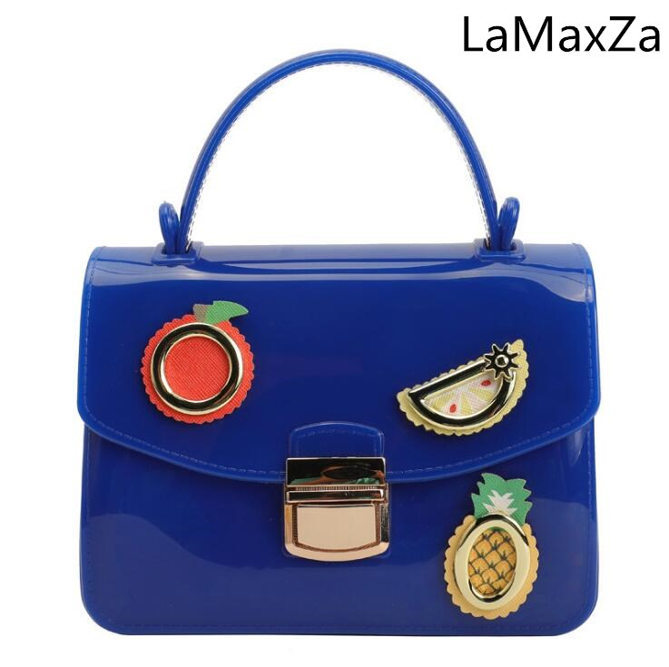 LaMaxZa 2018 new small fresh transparent jelly bag glossy pattern bag shoulder slung female small bag