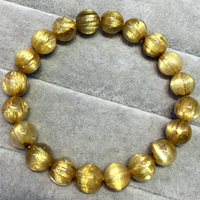 High Quality Natural Genuine Arrange Titanium Gold Hair Rutile Quartz Cat's Eye Stretch Bracelet Round Beads 9mm