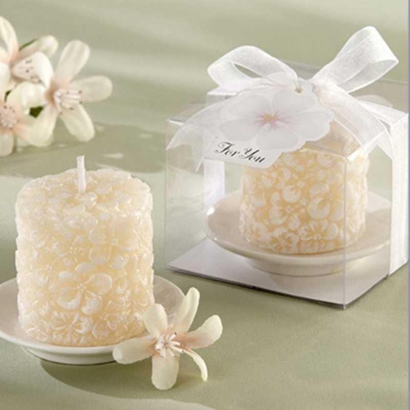 100pcs New Wedding favor gift and giveaways - Wedding party Souvenir Plumeria Flowers - Scented Candle with Ceramic Candle Holde