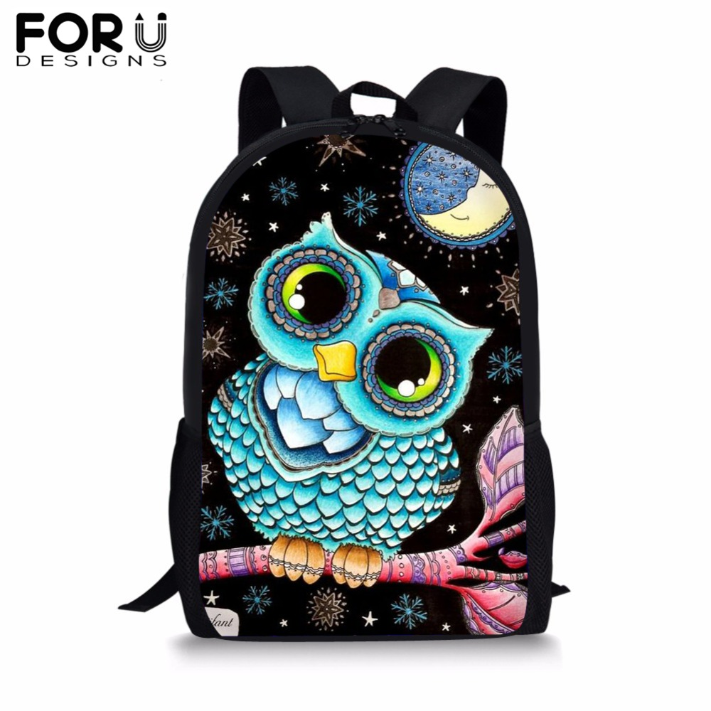 FORUDESIGNS Cute Cartoon Owl Print School Bag For Girls Student Black Book Bag Kids Custom Your Pet Backpack Satchel 2019