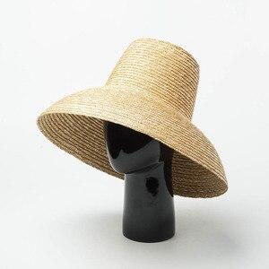 Image 5 - جديد شعبية مصباح شكل قبعة الشمس للنساء كبيرة واسعة حافة الصيف قبعة للشاطئ السيدات عالية الجودة القش قبعة UV حماية دربي السفر قبعة