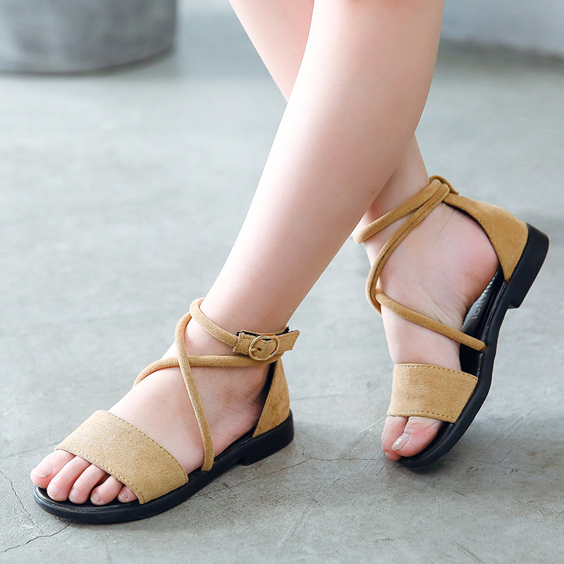 2017 New Model Girls Leather Sandalswomen Sandalet Mid Heel Casual