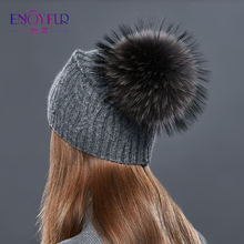 Cashmere Wool Knitted Pompon Winter Hat