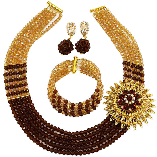 Brown Gold AB African Costume Necklace Nigerian Traditional Wedding Beads Party Jewelry Sets 5C-SXJB006