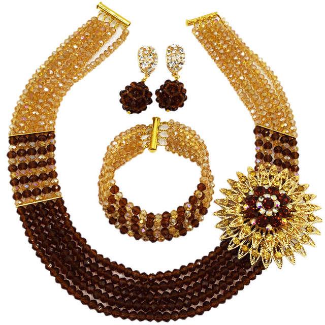Vàng nâu AB Phi Costume Vòng Cổ Nigeria Truyền Thống Wedding Hạt Đảng Bộ Đồ Trang Sức 5C-SXJB006
