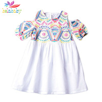 Belababy Baby Girls Dress Brand Summer 2018 Bohemian Beach Print Strapless Dresses For Girls Clothing 2