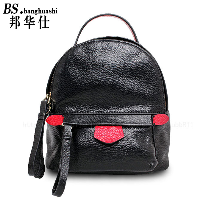ФОТО Leather small backpack true cowhide hit color shoulders small bag mini-backpack Korean female small leather shoulder bag