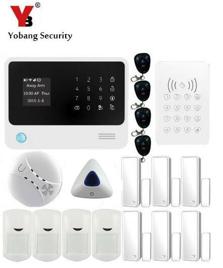 YobangSecurity Android IOS APP GSM Wireless WIFI Smart Home Alarm System 433Mhz Wireless Keypad Smoke Alarm Detector PIR Sensor yongkang wireless 433mhz 1527 200k smoke detector for gsm alarm system