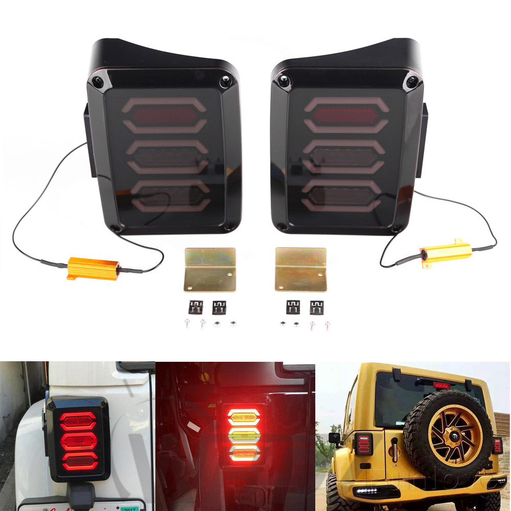 WHDZ US version LED Tail Light With Brake Turning Reverse Light For Jeep wrangler JK 2007~2016 brake lights for jeep wrangler jk 2007 2016 tail light diamond smoke led tail light