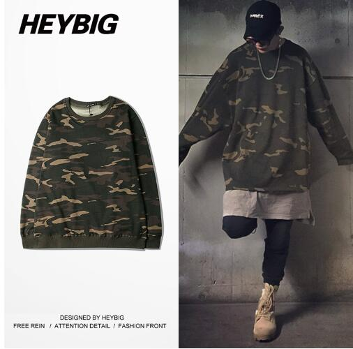 Heybig tour Kanye WEST INSPIRED OVERSIZED CAMO Long Sleeve sweatershirts