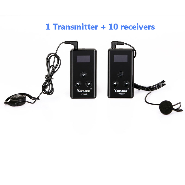yarmee 1 transmitters and 10 receivers wireless tour guide system with headsets for museum visiting,translation event