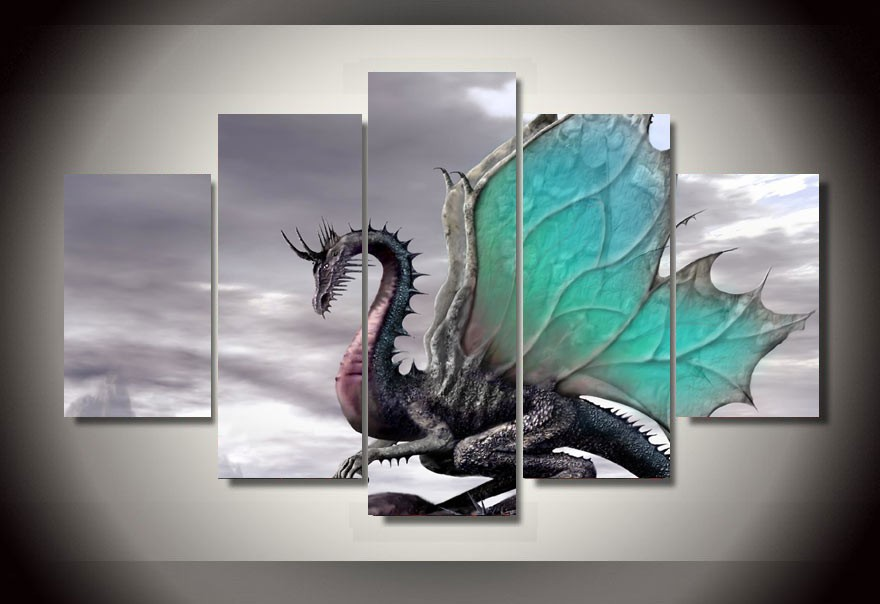 Framed Printed cool enchanting dragon picture Painting wall art room decor print poster picture canvas Free shipping F/1204