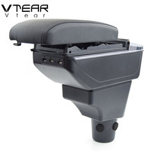 Vtear For Toyota Sienta armrest font b box b font USB Charging heighten Double layer central