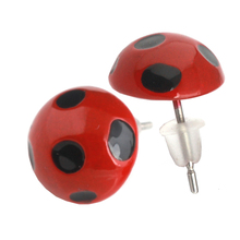 RJ Hot New Fashion Design Anime Miraculous Metal Red Ladybug Stud Earrings Circle Animal Earrings Girls Cat Noir Ladybug Gift