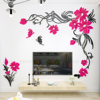 Creative flower 3D stereo acrylic wall sticker background warm decoration Large Size Mural Home Decor Living Room Wall Decals 11