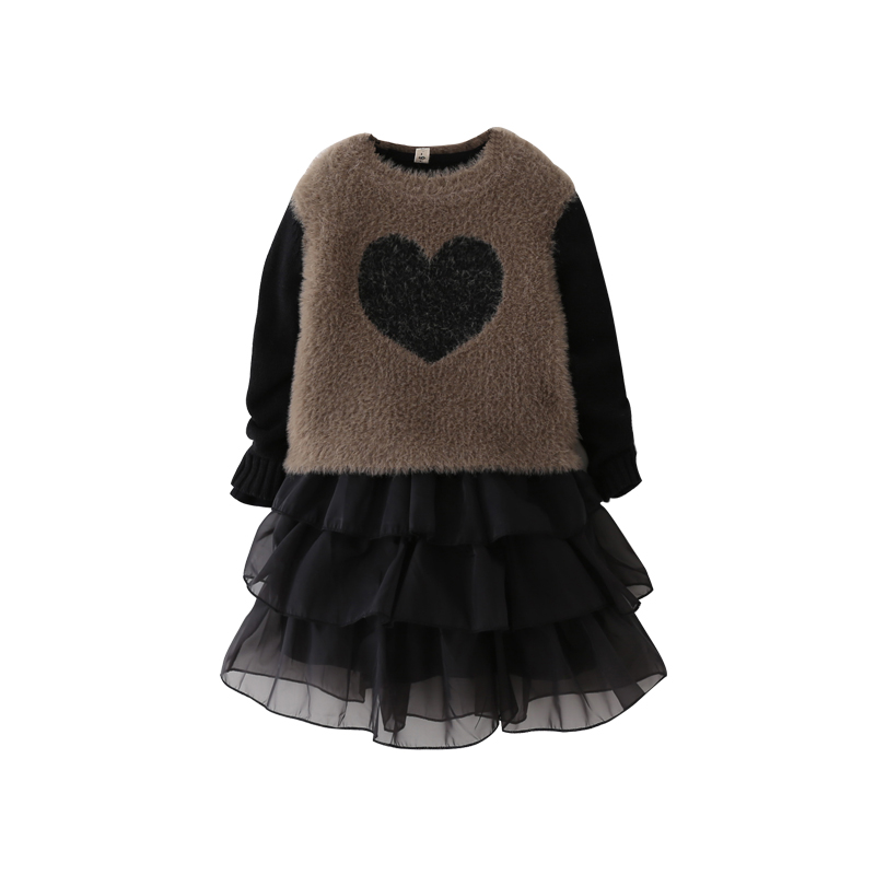Fashion Girls Dresses Sweater 2018 New Girls Clothes Cotton Children Dresses Thick Warm Clothing Girl Clothing Kids Dresses 3-8T fashion kids baby girl dress clothes grey sweater top with dresses costume cotton children clothing girls set 2 pcs 2 7 years