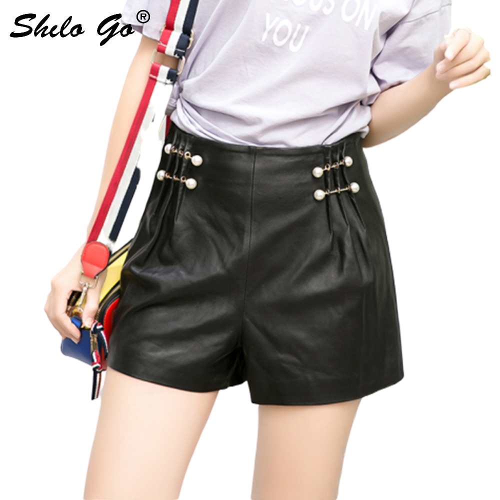 Pearl High Waist Leather Shorts Women Summer Streetwear Sheepskin Genuine Leather Mini Shorts Loose Female Wide Leg Hot Shorts