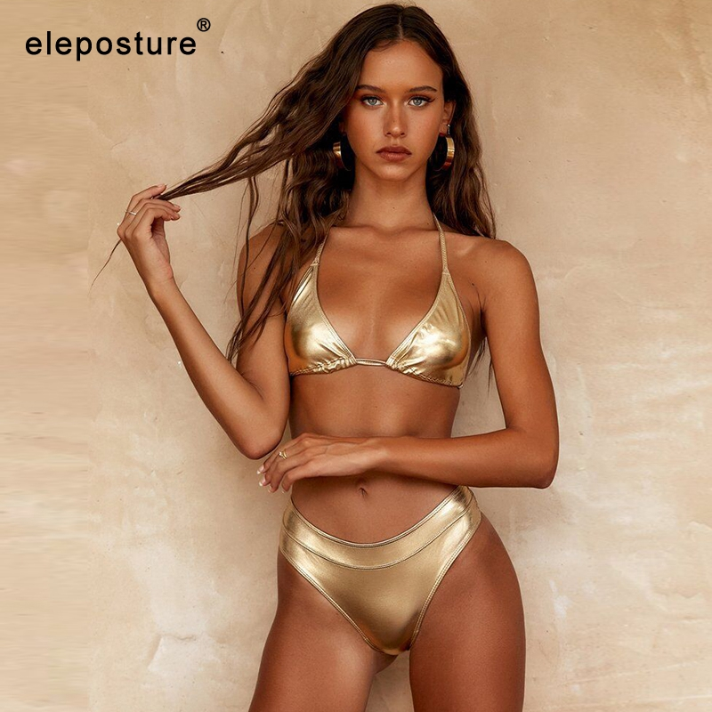 2019 Sexy Gold Bikini Women Swimwear Push Up Swimsuit High Waist Bikini Set Bathing Suit Beachwear Biquini Maillot De Bain Femme