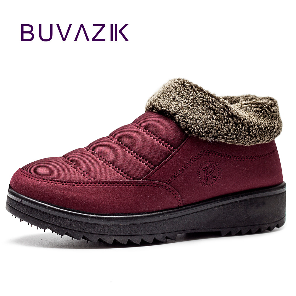 купить Women boots 2017 cozy warm fur winter shoes comfortable thick sole snow boot female casual slip on antiskid botas size 35 41 дешево