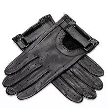 ^ Черные овчинные перчатки мужские вождения нескользящие тонкие дышащие отверстия весна лето без подкл