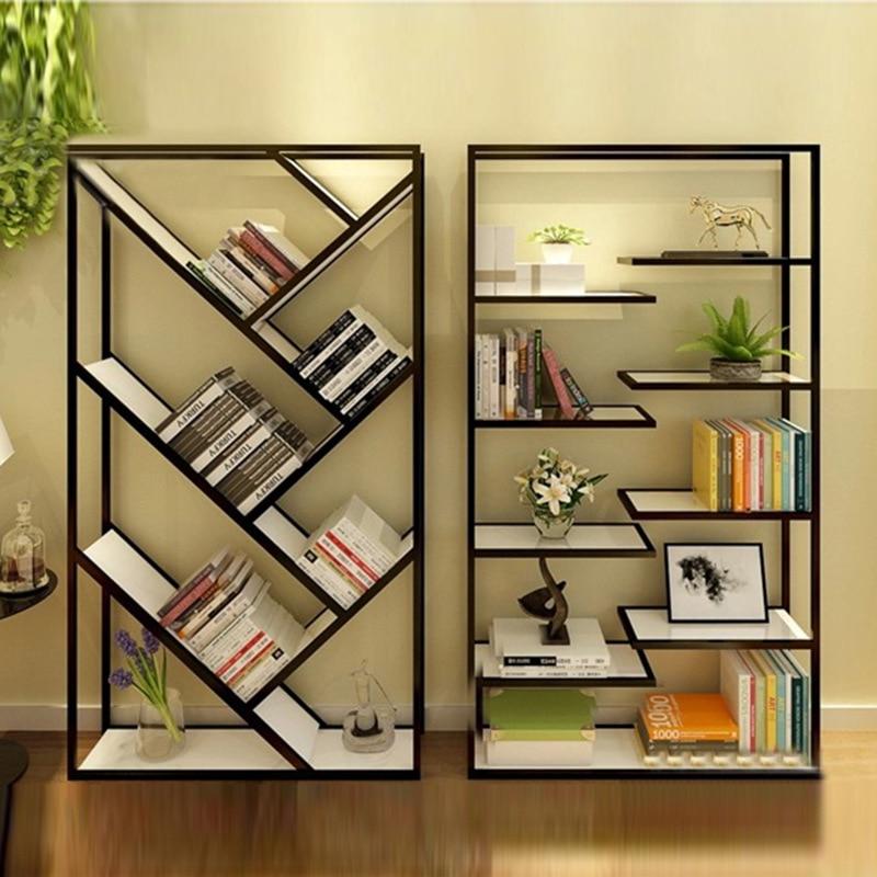 Muebles de madera maciza forjado estante del almacenaje for Estantes de oficina