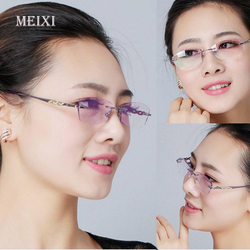 Women S Diamond Cutting Metal Rimless Hmc Coating Glass