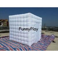 Белый куб портативный надувной фото стенд палатки надувной photo booth для события вечерние, светодио дный партии красочные светодиодные, Надув