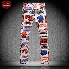 Новый сезон весна-лето метросексуал печати джинсы Тонкий эластичный корейская мода повседневные штаны брюки мужчины роспись цветы для Star
