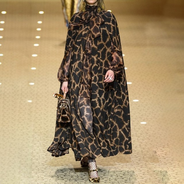 Female Cardigan Coat O Neck Cloak Sleeve Print Leopard Maxi Cloaks For Women 2018 Autumn Vintage Fashion Tide 2019 NEW Wonder