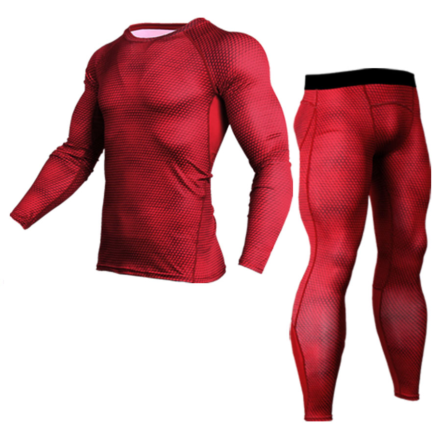 2019 New Men And Womens Tracksuit Compression Suit Fitness Bodybuilding Tights T-shirt + Pants 2 Pieces Mma Rash Guard Kit 4XL