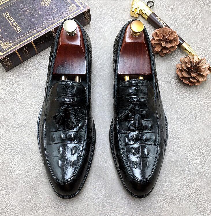 새로운 남성 악어 가죽 로퍼 패션 술 슬립 온 수제 신발 정품 가죽 오피스 옥스포드 남성 사이즈 38 46-에서포멀 슈즈부터 신발 의  그룹 1