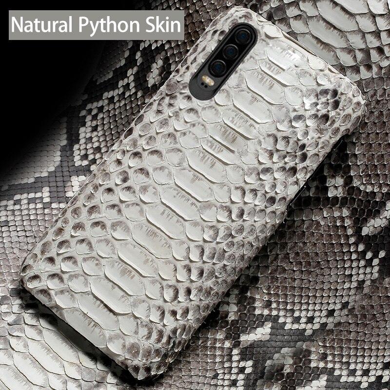 Téléphone étui pour huawei P20 P30 P10 P8 Mate 20 10 Lite 9 Pro Python Naturel Peau Haut De gamme Personnalisé Pour L'honneur 8X Max V20 Couverture Arrière