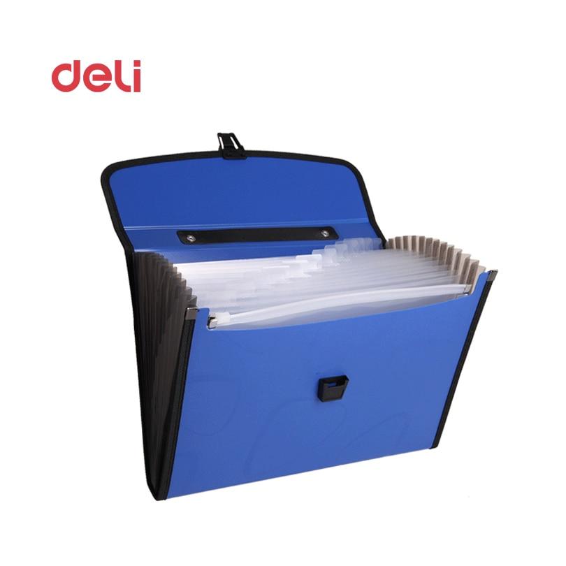 Deli Expanding Wallet Big Capacity Filing Bag Document File Folder Elastic Band Multi-function Business Office Supplies Bags