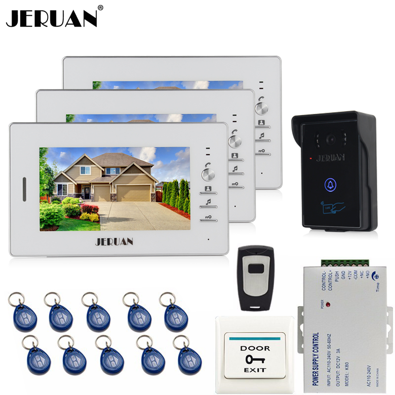 JERUAN NEW 7 inch LCD Video Intercom Video Door Phone System 700TVL RFID Access Waterproof Touch key Camera FREE SHIPPING jeruan 7 inch video door phone intercom system kit rfid touch key waterproof access camera 180kg magnetic lock remote control