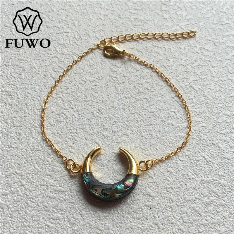 Браслет в виде раковины Abalone FUWO, браслет в форме полумесяца с  золотым наконечником из латуни, модный двойной браслет «Рог»  BR502Цепочки и браслеты