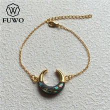 FUWO przeznaczony wyłącznie Abalone Shell Crescent bransoletka z złoty łańcuszek mosiężny moda podwójny róg bransoletka biżuteria BR502