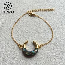 Fuwo 독점적으로 디자인 된 전복 쉘 초승달 팔찌 골드 담근 황동 체인 패션 더블 호른 팔찌 쥬얼리 br502