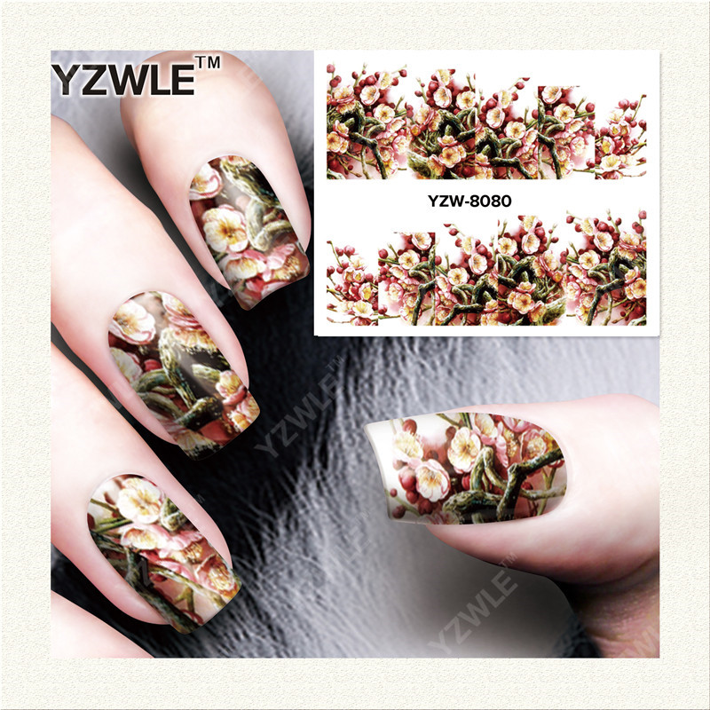 YZWLE  1 Sheet DIY Designer Water Transfer Nails Art Sticker / Nail Water Decals / Nail Stickers Accessories (YZW-8080)