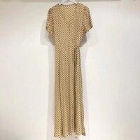 Для женщин пикантные Обёрточная бумага платье v образным вырезом летние модные футболки с короткими рукавами в платье в горошек Винтаж боти