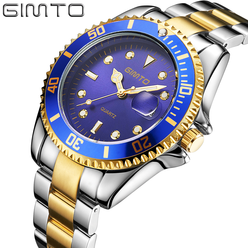 GIMTO New Luxury Brand Men Quartz Watch Gold Business Luxury Wrist Watch Male Date Military Waterproof Watches relogio masculino