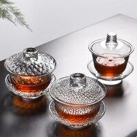 Taza de vidrio gaiwan tureen de 100 ml/130 ml/150 ml  vaso de vidrio de alta calidad de silicona  tapa  taza  platillo  juego de cuenco  tazas de servicio de té chino tureen|Recipiente para té|Hogar y jardín -