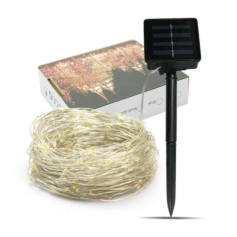 100 Led Solar LED Light  LED Copper Wire String  10 M  Holiday Outdoor Led Strip Christmas Party Wedding Decoration