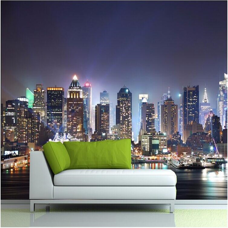 Manhattan 3d papel de paede, New York City large mural wallpaper night background scenery TV sofa bed paper parede