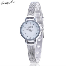 New Hot Women Men Watcehs Silver Stainless Steel Waterproof Clock Mesh Band Ladies Wrist Watch wholesaleF3