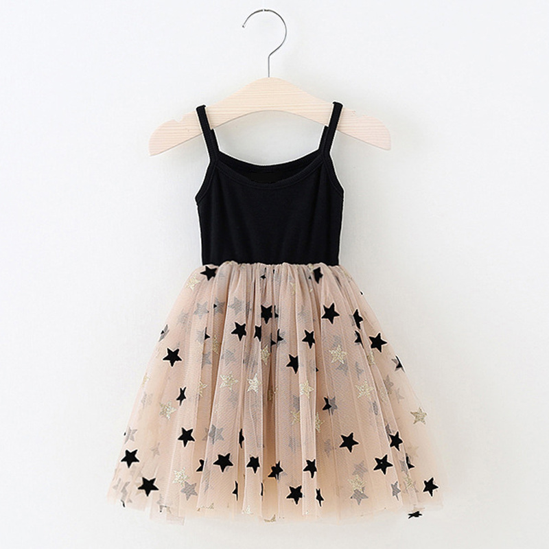 3-8 Years Summer Girls Clothes  Kids Dresses For Girls Casual Wear Bling Star Sling Dress Baby Girl Party Children Clothing(China)